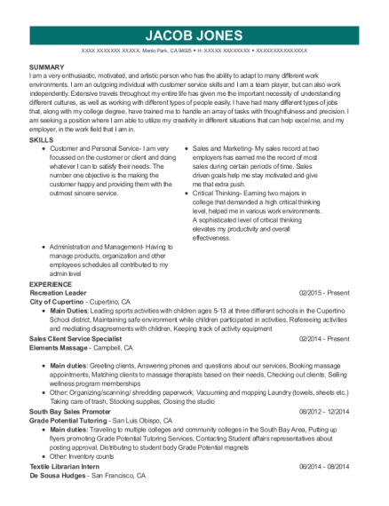 Recreation Leader resume sample California