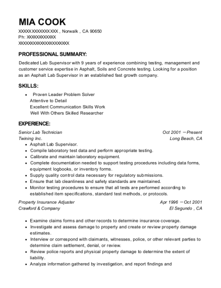 Senior Lab Technician resume template California