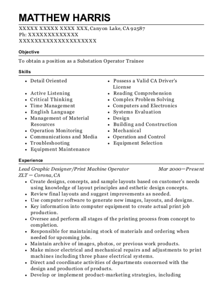 Lead Graphic Designer resume example California