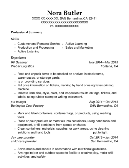 RF Scanner resume example California