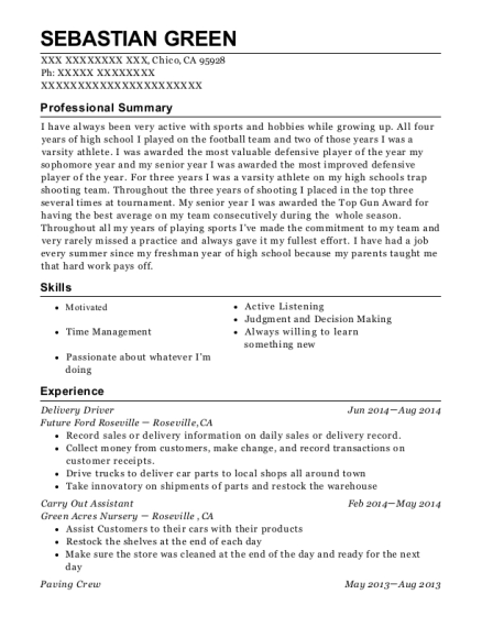 Delivery Driver resume template California