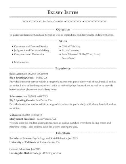 Sales Associate resume format California