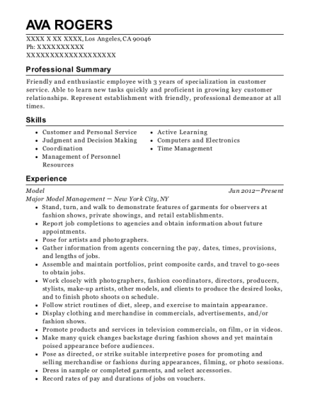 Model resume example California