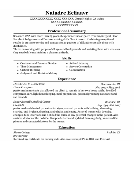 Home Caregiver resume template California