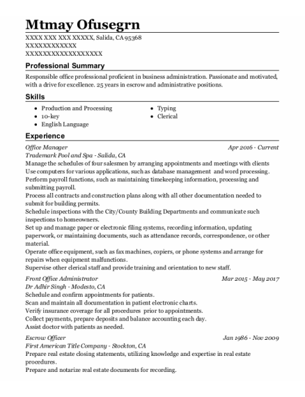 Office Manager resume template California