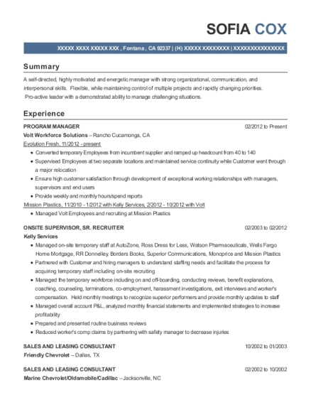 Program Manager resume template California