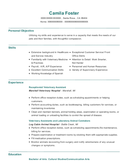 Receptionist resume example California