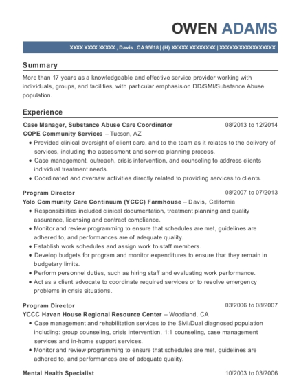 Case Manager resume sample California