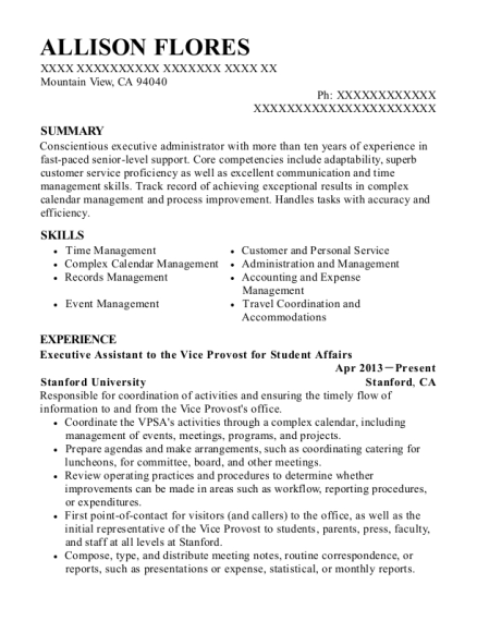Executive Assistant to the Vice Provost for Student Affairs resume template California