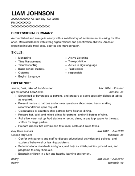 server resume template California