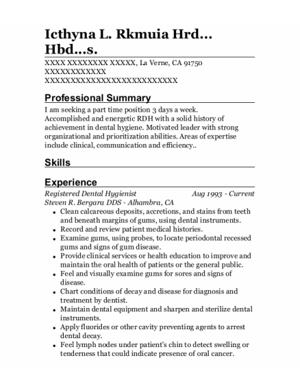 Registered Dental Hygienist resume format California