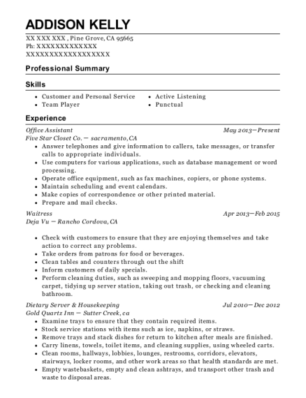 Office Assistant resume sample California