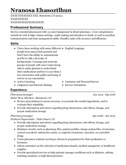 Pharmacy Manager resume template California