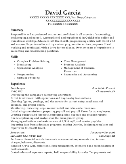 Bookkeeper resume template California