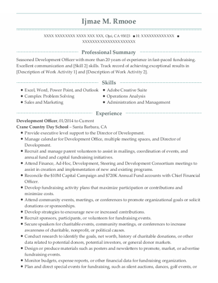 Development Officer resume template California