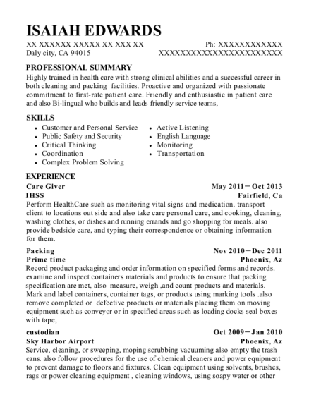 Care Giver resume template California