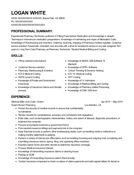 Medical Biller and Coder Extern resume format California