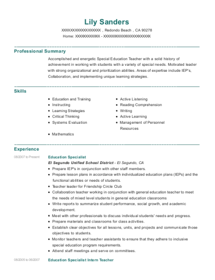 Education Specialist resume template California