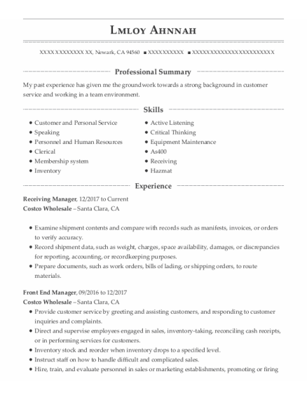Receiving Manager resume sample California