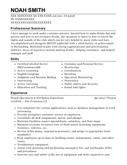 People Operations & Workplace Experience resume template California