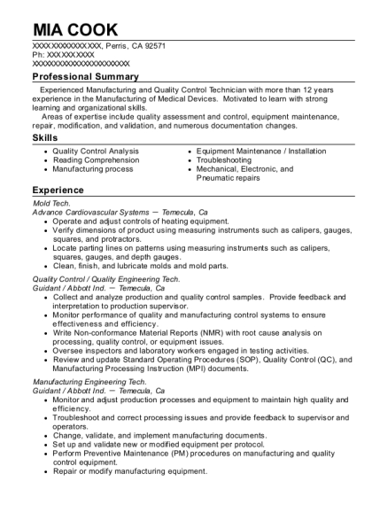 Mold Tech resume template California