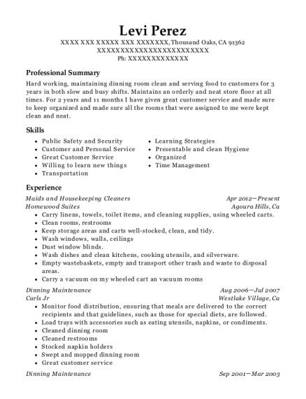 Maids and Housekeeping Cleaners resume format California