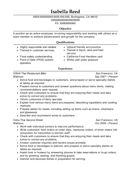 Waitress resume example California