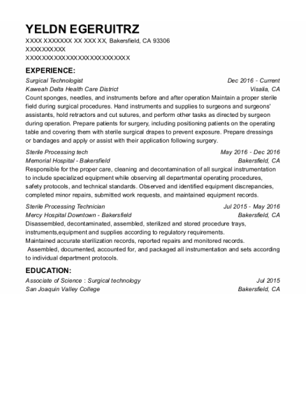 Surgical Technologist resume format California