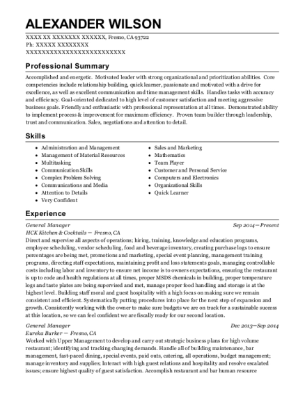 General Manager resume format California