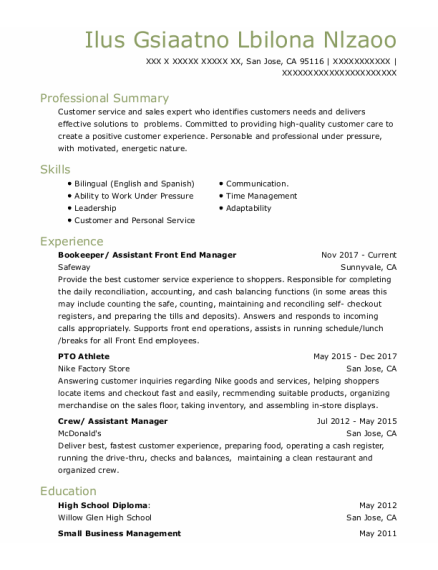 Bookeeper resume format California