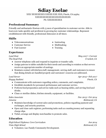 Lead Host resume format California