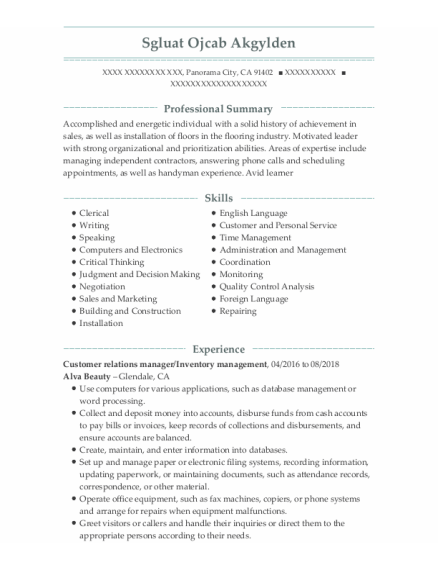 Customer Relations Manager resume format California
