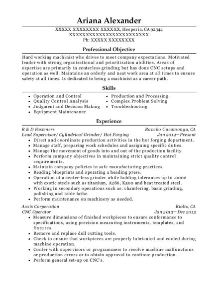 Lead Supervisor resume sample California