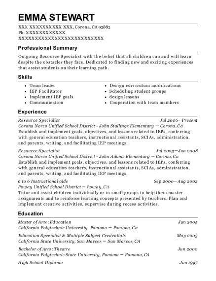 Resource Specialist resume template California