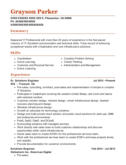 Sr Solutions Engineer resume sample California