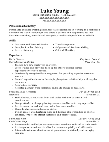 Party Hostess resume example California