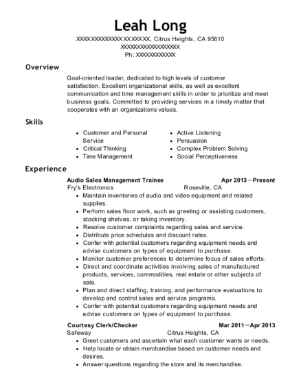 Audio Sales Management Trainee resume example California