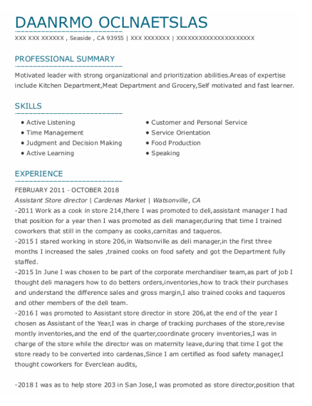 Assistant Store Director resume template California