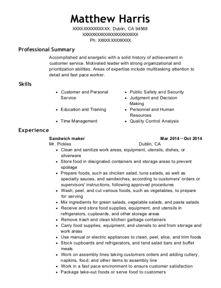 Sandwich maker resume sample California