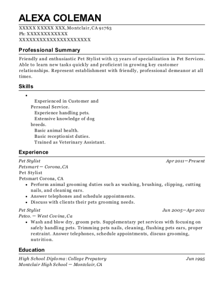 Pet Stylist resume sample California