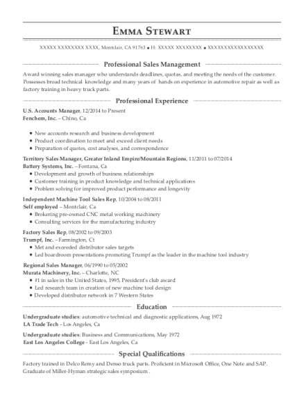 US Accounts Manager resume example California