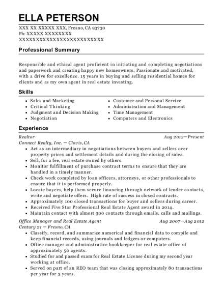 Realtor resume template California