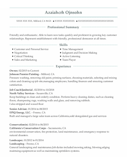 Owner resume template California