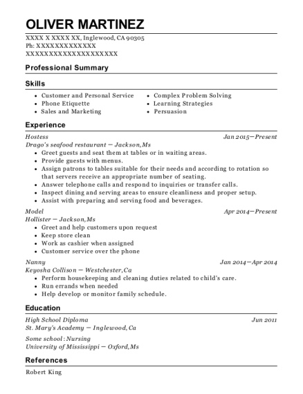 Hostess resume sample California