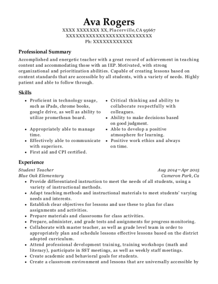 Student Teacher resume sample California