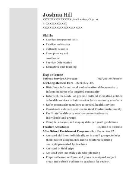 Patient Service Advocate resume example California
