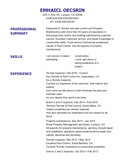 Property Maintenance resume example California