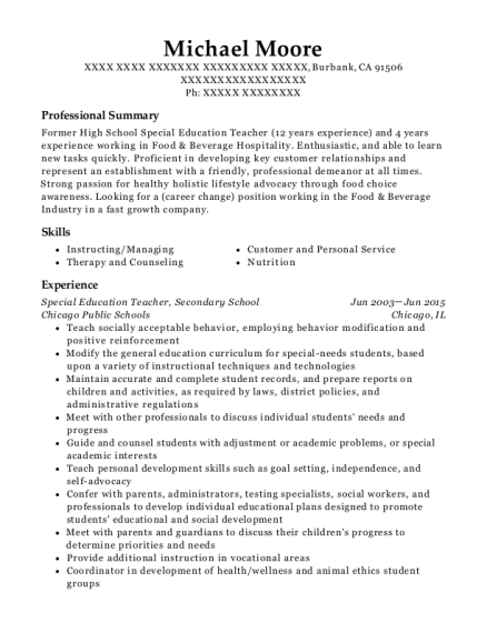 Special Education Teacher resume example California