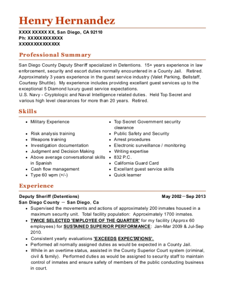 Deputy Sheriff resume example California
