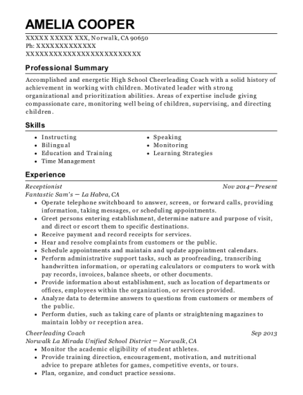 Receptionist resume format California